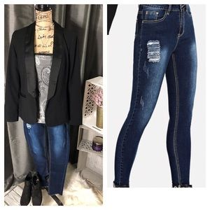 🔥BLOWOUT SALE💥Raw Hem Rip Stretch Skinny Jeans